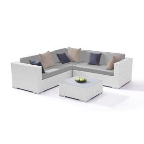 Polyrattan Sitzgruppe Ben - weiß satiniert - Polyrattan Gartenmöbel Eck Lounge in Weiß satiniert