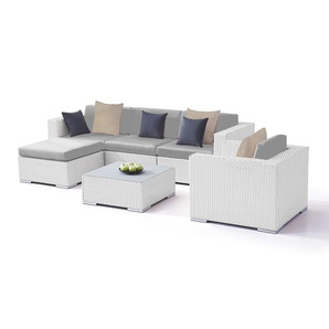 Polyrattan Sitzgruppe Big Mesa - weiß satiniert - Polyrattan Gartenmöbel Set in Weiß satiniert