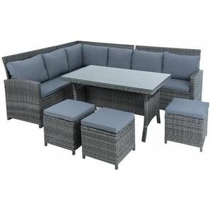 Polyrattan Sitzgruppe Essgruppe Couch Sofa Set Lounge Gartengarnitur 7tlg grau - ESTEXO
