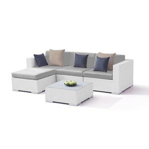 Polyrattan Sitzgruppe Mesa - weiß satiniert - Polyrattan Gartenmöbel Set in Weiß satiniert
