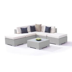 Polyrattan Sitzgruppe Sofia - grau satiniert - Polyrattan Gartenlounge in Grau satiniert