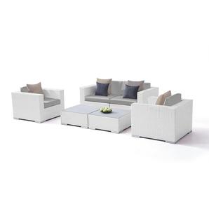 Polyrattan Sitzgruppe Tapa - weiß satiniert - Polyrattan Loungemöbel Set in Weiß satiniert