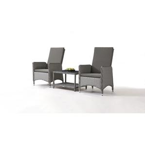 Polyrattan Stuhl Doona, 2 Stück mit Tisch - grau satiniert - Polyrattan Gartenmöbel Klassik Set in Grau satiniert