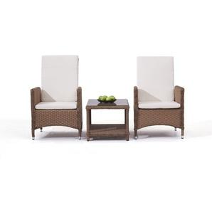 Polyrattan Stuhl Doona, 2 Stück mit Tisch - karamell - Polyrattan Gartenmöbel Klassik Set in Karamell