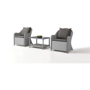 Polyrattan Stuhl Kasu 2 Stück mit Tisch - grau satiniert