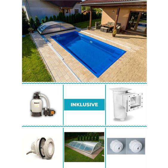 GFK Pool Fenix 3,00m x 6,00m x 1,20m Standard 5mm Farbe: Atlantic Blue All Inklusive Set inkl. Schiebehalle Fertigpool Fertigbecken Poolset