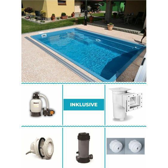 GFK Pool Set Smart 3,00m x 4,60m x 1,20m Standard 5mm Farbe: Grey Rock Super Komplettset Fertigpool Fertigbecken Poolset
