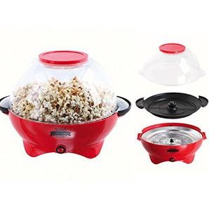 Popcornmaschine Popcorn Maker Popcornautomat 800 Watt Abnehmbarer Deckel (5,5 Liter, Schüssel, Antirutschfüße, Kino, 35 x 25 cm, Rot)