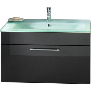 Posseik Waschplatz 90 cm Heron Anthrazit mit Glasbecken Aquamarin