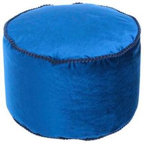utz Pouf Samt , Blau , Textil , 47x32x47 cm