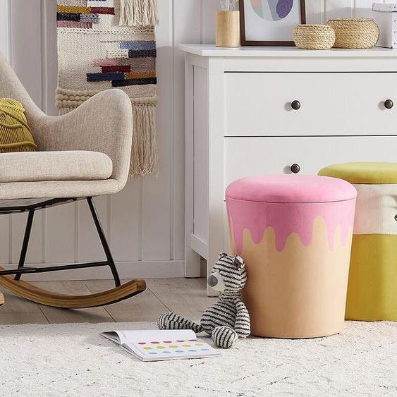 Pouf Samtstoff mit Stauraum beige / rosa ø 40 cm MOUSEE