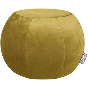 utz Pouf Samt Uni Currygelb , Textil , ca.180 L , 50 cm
