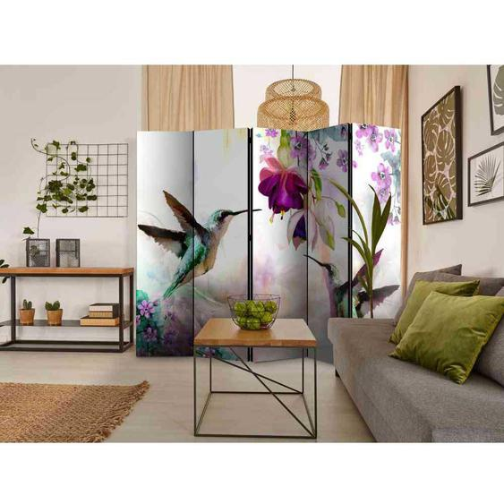 Praxis Raumteiler mit Kolibri Motiv und Blumen 225 cm breit