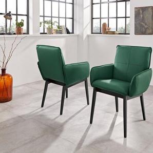 Premium collection by Home affaire Armlehnstuhl »Model 6« (Set, 2 Stück), Bezug in Microfaser oder Leder und das Gestell ist Buche Massivholz in schwarz lackiert