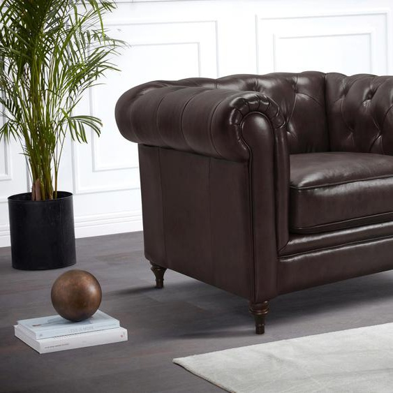 Premium collection by Home affaire Chesterfield-Sessel Chambal, mit klassischer Knopfheftung NaturLEDER®, B/H/T: 111 cm x 78 94 braun Chesterfield Sessel
