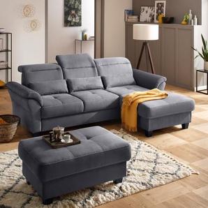 Premium collection by Home affaire Ecksofa »Solvei«, mit Recamierenabschluß und Sitztiefenverstellung. Wahlweise auch mit Kopfteilverstellung und Bettfunktion, Federkern