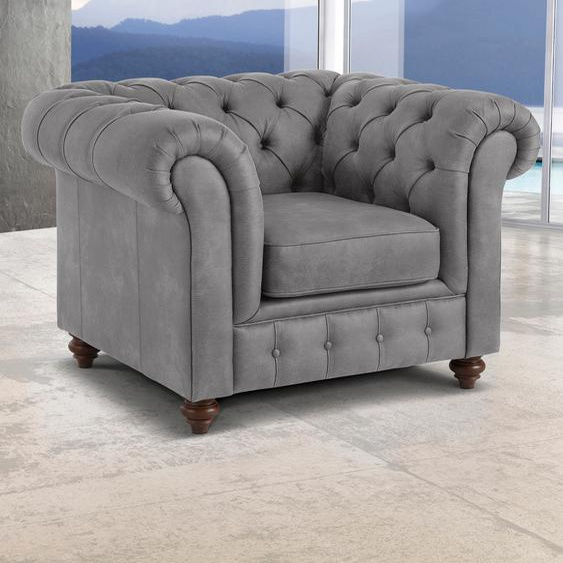 Premium collection by Home affaire Sessel Chesterfield Luxus-Microfaser in Lederoptik, B/H/T: 105 cm x 74 89 grau