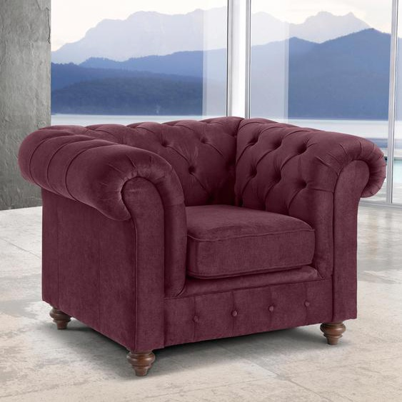 Premium collection by Home affaire Sessel Chesterfield Luxus-Microfaser, B/H/T: 105 cm x 74 89 rot