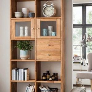 Premium collection by Home affaire Standregal, aus massiver Wildeiche, mit vielen Stauraummöglichkeiten, Höhe 202 cm