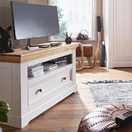 TV-Board »Kim«, 120x63.1x40 cm (BxHxT), Premium collection by Home affaire, weiß, Material Massivholz
