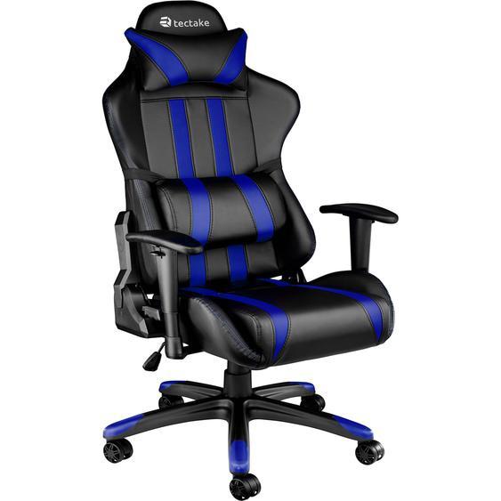 Premium Racing Bürostuhl mit Streifen - schwarz/blau