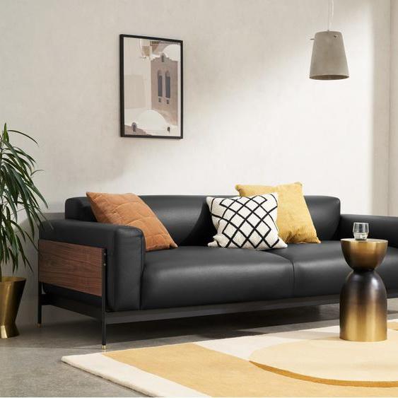Presley 3-Sitzer Sofa, Leder in Schwarz