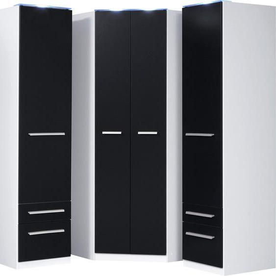 priess Eckkleiderschrank Barcelona B/H/T: 95 cm x 193 cm, Tiefe Seitenteil 54 mit Beleuchtung schwarz Eckschränke Kleiderschränke