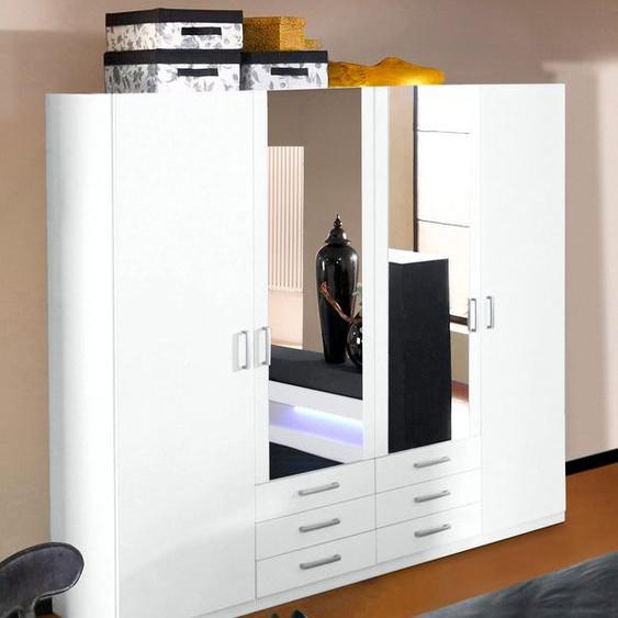 priess Kleiderschrank B/H/T: 185 cm x 193 56 cm, mit Glaskranzblende und LED, 4 weiß Drehtürenschränke Kleiderschränke