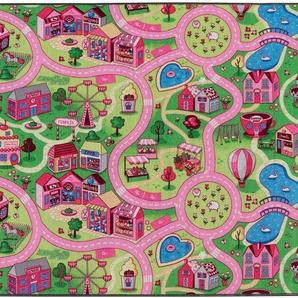 Primaflor-Ideen in Textil Kinderteppich SWEET CITY, rechteckig, 5 mm Höhe, Straßen-Spielteppich, Straßenbreite ca. 9 cm, Kinderzimmer B/L: 200 cm x 300 1 St. bunt Kinder Bunte Kinderteppiche Teppiche