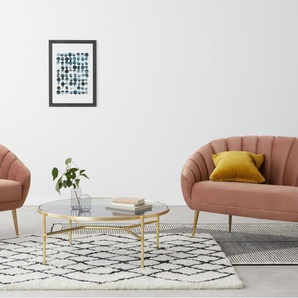Primrose 2-Sitzer Sofa, Samt in Zartrosa