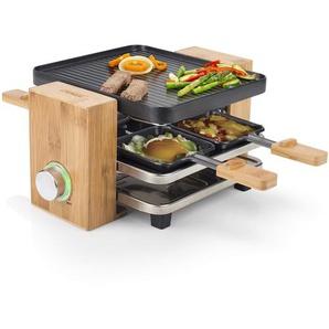 Princess Bambus Raclette Grill mit praktischem Parkdeck – für bis zu 4 Personen mit einstellbarem Thermostat, 162900
