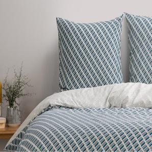 Prism 100 % Baumwolle Bettwaescheset (200 x 200 cm), Blaugruen und Grau