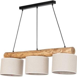 products Pendelleuchte »Emmo«, Hochwertiger Leinen-Baumwoll Lampenschirm, Balken aus Massivholz ca. 10 cm Durchmesser, Naturprodukt mit FSC®-Zertifikat, geeignet für LM E27 - exklusive, Made in Europe