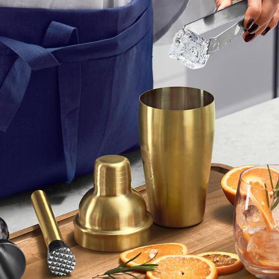Profi-Cocktailshaker - Goldfarben Innen edelstahlfarben - Edelstahl -