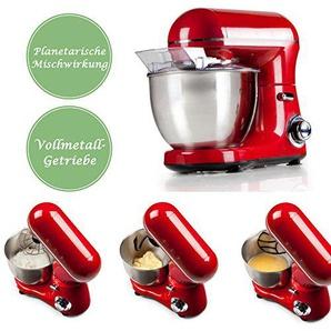 Profi Küchenmaschine mit einer 4 Liter Schale aus gebürstetem Edelstahl, inklusive Knethaken, Rührbesen und Schneebesen - Planetarische Mischwirkung, Rot