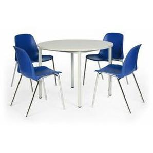 Protaurus Tisch-Stuhl-Kombination   Runder Tisch + 4 Stapelstühle   Blau - CERTEO
