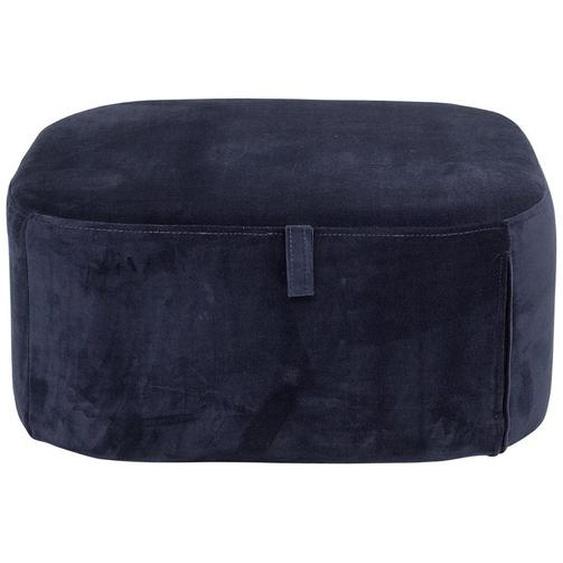 Pouf aus samtig weichem Polyester in Blau 55 x 25 x 55 cm