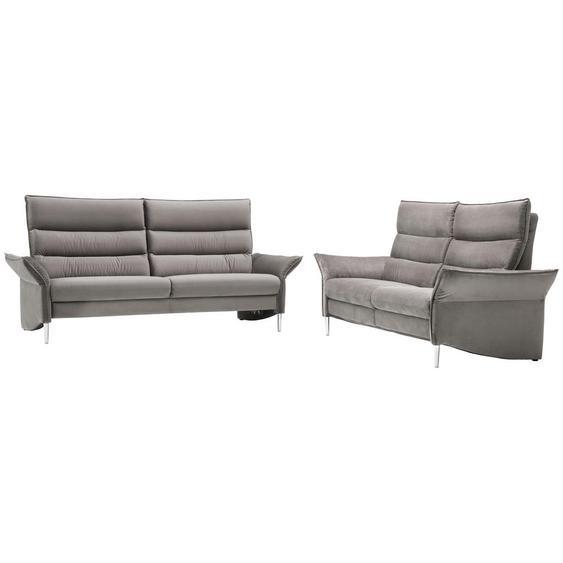 Pure Home Comfort Sitzgarnitur Velours Grau , Textil , Uni
