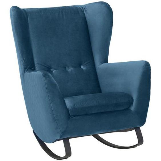 Pure Home Lifestyle Schaukelsessel Velours , Blau , Textil , 82x109x93 cm