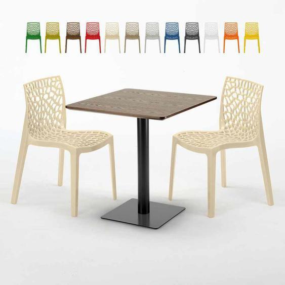 Quadratisch Tisch Holzeffekt 70x70 cm mit 2 Bunten Stühlen Gruvyer Melon | Beige