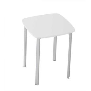 Quadratischer Garderobenhocker in Weiß und Aluminiumfarben modern