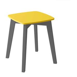 Quadratischer Sitzhocker in Anthrazit und Gelb Skandi Stil