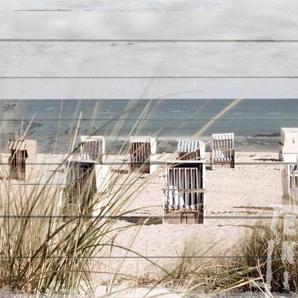 QUEENCE Holzbild »Strandkörbe-Strand«, 40x80 cm Echtholz