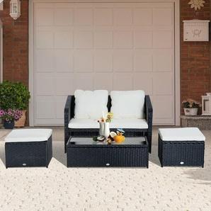 Outsunny® 4-tlg. Polyrattan Gartenmöbel Sitzgruppe Lounge mit Kissen Schwarz 1 x Doppelsofa 1 x Couchtisch 2 x Hocker