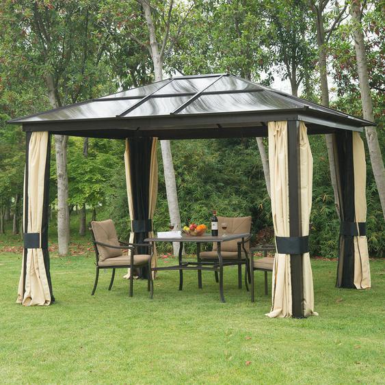 ® Luxus Pavillon Alu Gartenzelt mit lichtdurchlässigem PC Dach - schwarzbraun/natur - Outsunny