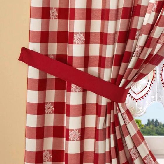 Raffhalter Durach, Stickereien Plauen, passend für Gardinen 1, B/H: 70/5 cm rot Zubehör Vorhänge