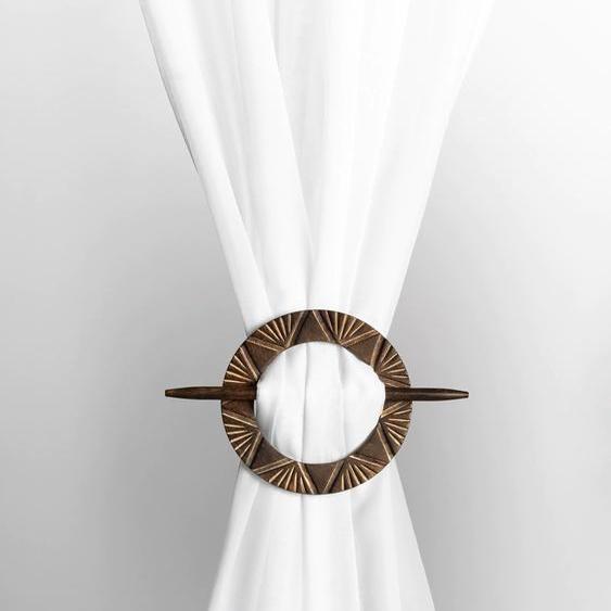Raffhalter mit effektvoller Schnitzerei ca. 15 cm, Durchmesser, () braun Zubehör für Gardinen Vorhänge Gardinenstangen