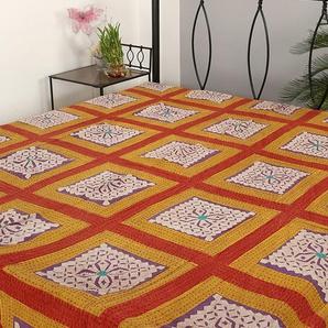 RAJRANG Designer Handarbeit Tagesdecke Baumwolle, Lila, Handarbeit Doppelzimmer Bettlaken
