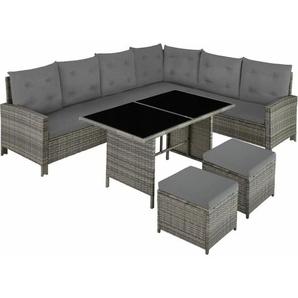 Rattan Lounge mit Stahlgestell Barletta - Loungemöbel, Gartenmöbel, Gartengarnitur - beige/grau - TECTAKE