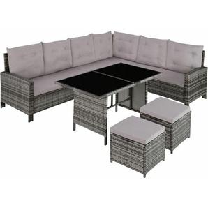 Rattan Lounge mit Stahlgestell Barletta - Loungemöbel, Gartenmöbel, Gartengarnitur - grau - TECTAKE